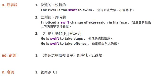 Swift 中文意思